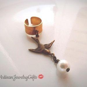 Antique Brass Sparrow Pearl Ear Cuff